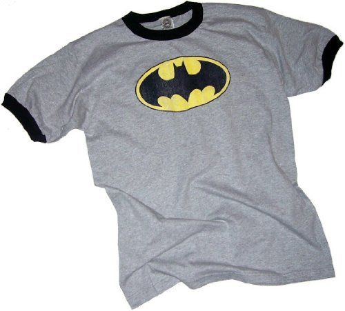 Batman Classic Distressed Logo Adult Ringer T-Shirt, Large in Gray - Batman Ringer T-shirt