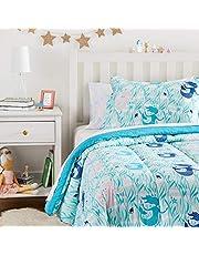 Amazon Basics Kid's Bed-in-a-Bag - Soft, Easy-Wash Microfiber - Twin, Blue Mermaids