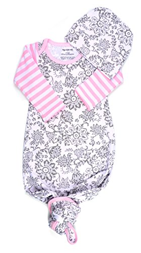 (Infant Baby Tie Nightgown and Matching Hat | Sleep Gown with A Tie Bottom | Boy Girl Unisex | Soft Stretchy Cotton Sleeper (Grey Floral Pink Stripe, 0-3 Month) )