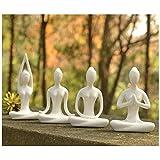 Lot Of 4 Meditation Yoga Pose Statue Figurine Ceramic Yoga Figure Set Decor (White Set)
