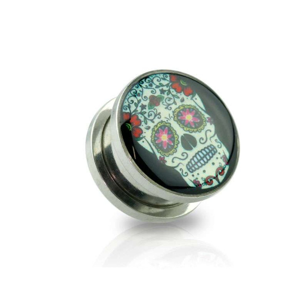 Dynamique Pair Of Sugar Skull Print Screw Fit Plugs 316L Surgical Steel