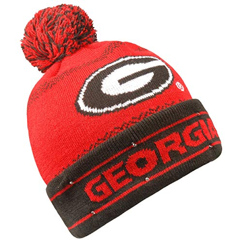 Forever Collectibles NCAA Georgia Bulldogs LED Pom Pom Knit Hat, Red, One -