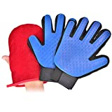 Pet Grooming Glove Right and Left Hands Efficient Pet Hair Remover Mitt,Massage Tool with Enhanced Five Finger Design,Perfect for Dogs & Cats with Long & Short Fur Against Summer Shedding