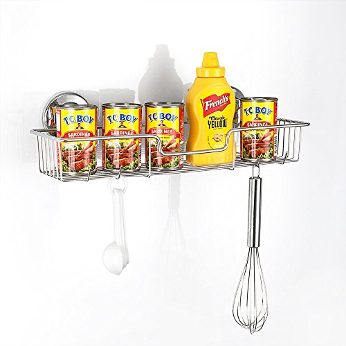 SANN Suction Cup Shower Caddy with Hooks Vaccum System 304 Stainless Steel Rustproof Basket Kitchen & Bathroom Storage