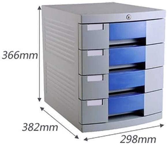 Drawer Organizer 4-Layers Lockable with Blank Label Plastic Blue Flat File Cabinet