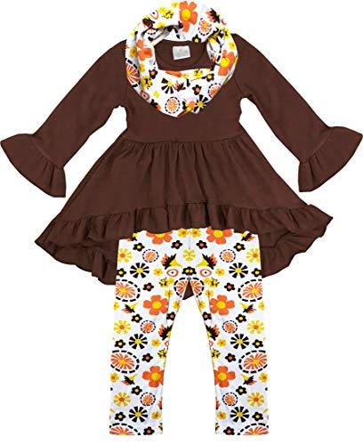 Boutique Clothing Girls Fall Flowers Thanksgiving Top Legging Scarf Set Brown 6/2XL