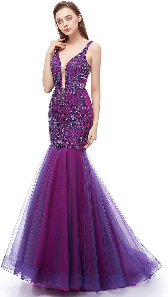 Leyidress Meerjungfrau Abendkleider Trompete Ballkleid Stickerei  V-Ausschnitt Kleid für Frauen Party Abschlussball