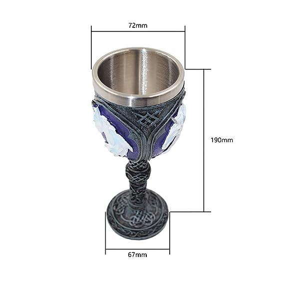 Ruiting Vino de Acero Resina de la Cabeza del Lobo c/áliz Creativo Inoxidable de la Copa Beber Cerveza Copa de Resina 3D Cabeza del Lobo c/áliz