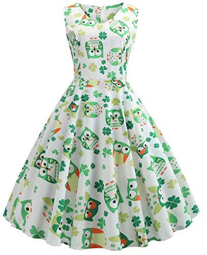 015a52331573 Fenxxxl Women's St. Patrick's Day Dress Vintage Boatneck Sleeveless Casual  Dress Clover Dress ...