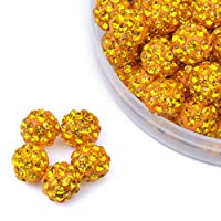iCherry(TM) 10mm 100pcs/Lot Yellow Clay Pave Disco Ball for Rhinestone Crystal Shamballa Beads Charms Jewelry Makings
