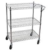 Solid Steel Contemporary Silver Design 3 Tier Multi Purpose Utility Cart