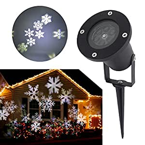 Alavis Christmas Light Halloween Outdoor Garden Lawn Waterproof LED Projector Mobile White Snowflake Pattern