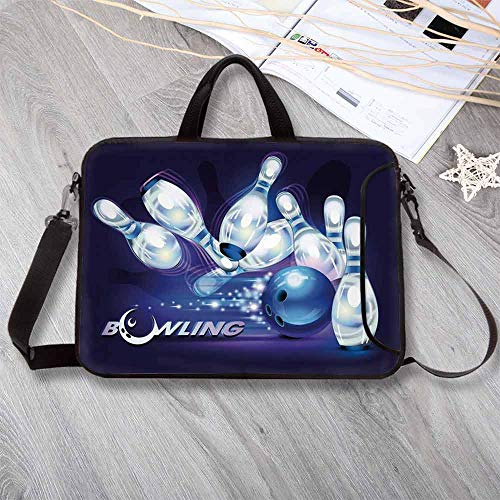 - Bowling Party Decorations Lightweight Neoprene Laptop Bag,Fantasy Design Vibrant Ball Scattered Pins Crescent Moon Decorative Laptop Bag for Laptop Tablet PC,17.3