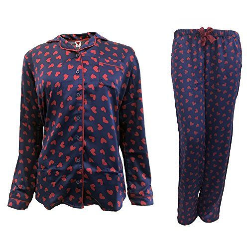 DI donna cotone art Blu raso NOTTE aperto 6325 avanti di in lungo NOI pigiama pqBSZZ