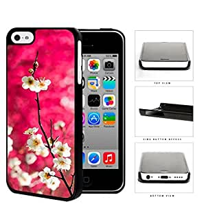 Dark Pink Background White Cherry Blossom Flowers iPhone 5c Hard Snap on Plastic Cell Phone Case Cover