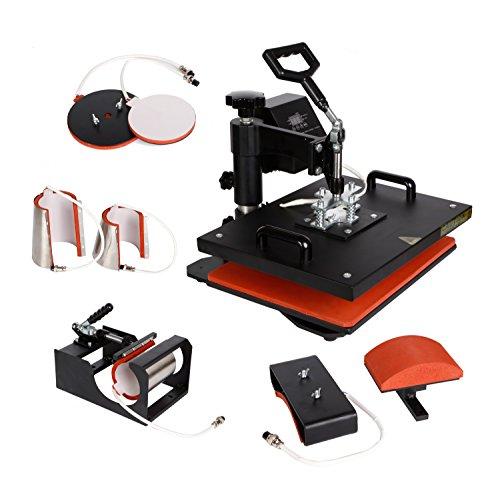 Heat Transfer Flat Plate - PowerPress 8 in1 T-shirt Digital Heat Press Machine Transfer Sublimation Hat Mug Cap Plate 15-by-12-Inch, Black
