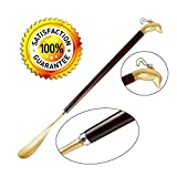 Long Handle Shoe Horn, 24'' Extra Long Exquisite Solid Brass and Schima Superba Wood Dolphin Head Handle Shoe Horn Solid For Shoes and Boots and All Size Feet, For Men,Women,Kids, Elderly, Seniors