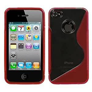 MYBAT IPHONE4CASKGM1013NP Sensual Gummy Transparent S Shape Protective Case for iPhone 4 - 1 Pack - Retail Packaging - Clear/Semi Red