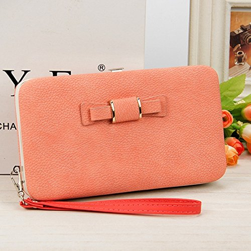 LONG 10 Women Long Holder Black Wallet Pink Large New Clutch Purse Leather Smooth BY Phone Pocket Card 18CM Bowknot Capacity 66O4rqBw