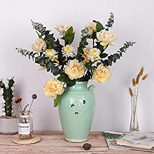 YILIYAJIA Artificial Peony Fake Eucalyptus Bouquets Silk Flowers Peonies Tall Flower Decoration for Home Table Party Wedding 53