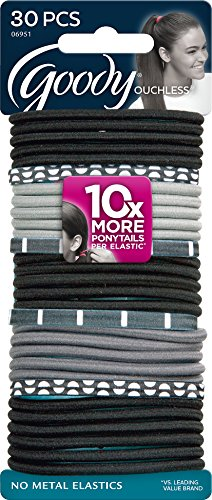 - Goody Women's Ouchless Mod Elastics, Black/White, 30 Count (Pack of 3)