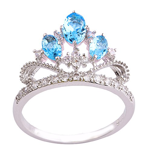 Topaz Crown Ring (Empsoul 925 Sterling Silver Natural Chic Filled Blue Topaz Tiaras and Crowns Shaped Wedding Ring)