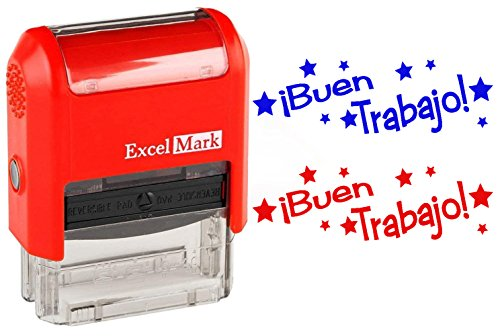 BUEN TRABAJO - ExcelMark Self-Inking Two-Color Rubber Spanish Teacher Stamp - Perfect for Grading Homework - Red and Blue Ink