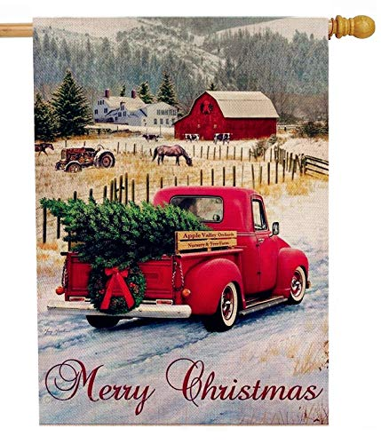 Dyrenson Merry Christmas 28 x 40 House Flag Red Truck Double Sided, Xmas Farmhouse Quote Burlap Garden Yard Decoration, Rustic Winter Vintage Seasonal Outdoor Décor Decorative Large Flag for Holiday (Decoration Outdoor Christmas Primitive)