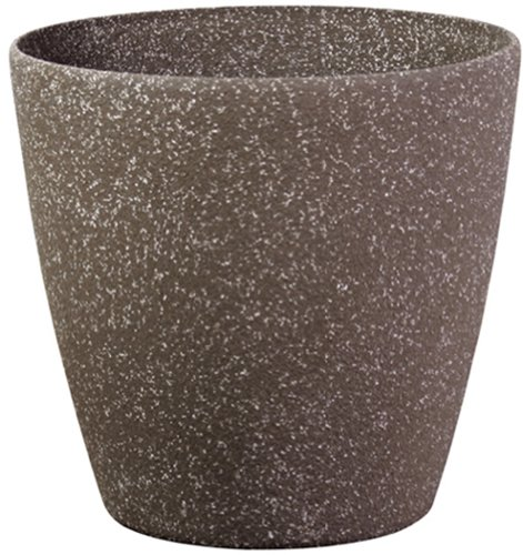 Stone Light SL Series Cast Stone Round Planter, 11-Inch, Mocha Sandstone, 6-Pack
