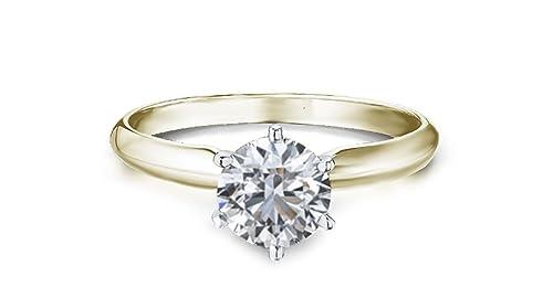 76aeafd2d76d solitario de 1 quilate de anillo diamante oro amarillo con diamante informe  de clasificación  Amazon.es  Joyería