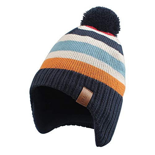 Knitted Baby Hat Scarf Set Winter Warm Boys Girls Beanie Fleece Lining Toddler Kids Hat with Pompom (Navy Striped Hat, S)