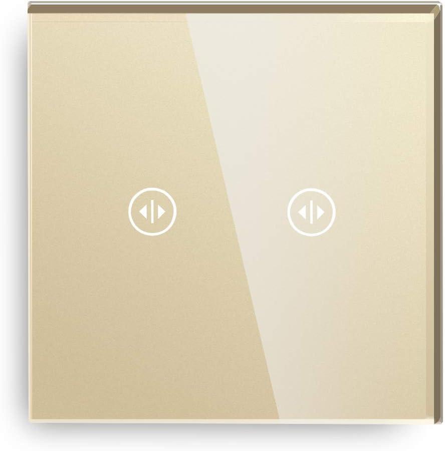 BSEED Interrupteur tactile 2 Gang 2 voie interrupteur Panneau en verre tremp/é panneau de verre tactile Blanc 240v capteur de lumi/ère