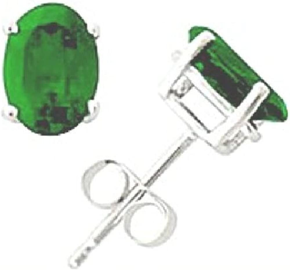 14kt White Gold 6//4mm Oval Emerald Stud Earrings AA