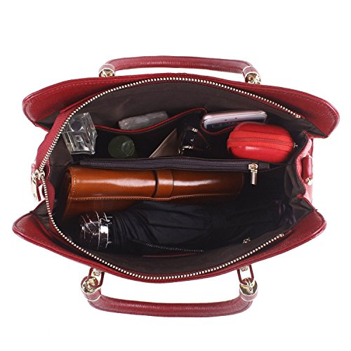 Purse Shoulder Business Travelling Ainimoer Top Leather Red Soft Messanger Cowhide Handbag handle Bag Crossbody light Blue txxqzw7SC