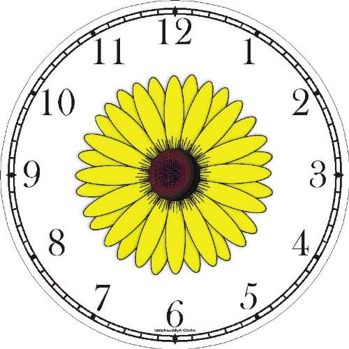 WatchBuddy Black Eyed Susan or Yellow Daisy Flower – JP Wall Clock Timepieces Black Frame
