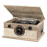 Victrola Reproductor de grabación Bluetooth 6 en 1 con Tocadiscos de 3 velocidades, CD, Reproductor de Casete y Radio Am/FM, Avena de Granja