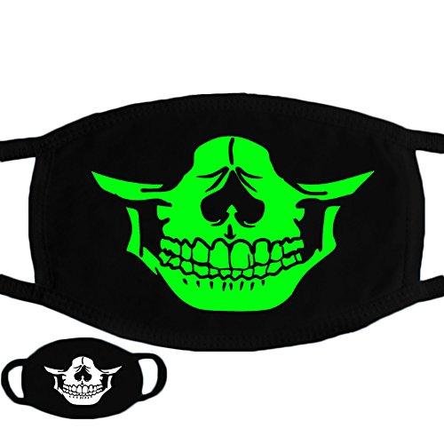 Trenton Halloween Skull Pattern Cool Luminous Unisex Cotton Blend Anti Dust Face Mouth Mask for Man Woman -