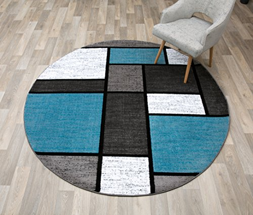 Rugshop Contemporary Modern Boxes Round Area Rug 6' 6