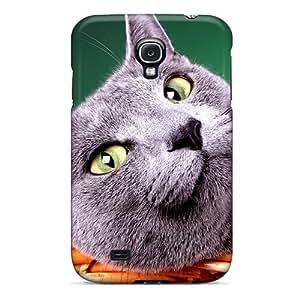 Galaxy S4 HrPgRRx1109kCczb Blue British Cat Tpu Silicone Gel Case Cover. Fits Galaxy S4
