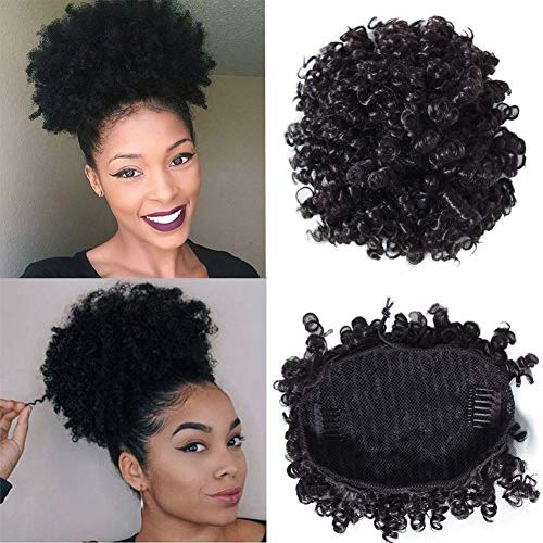 YIROO Afro Curly Human Hair Ponytail Extensions Curly Wrap Drawstring Puff Ponytails Hairpieces with Clips Natural Color 6 inch