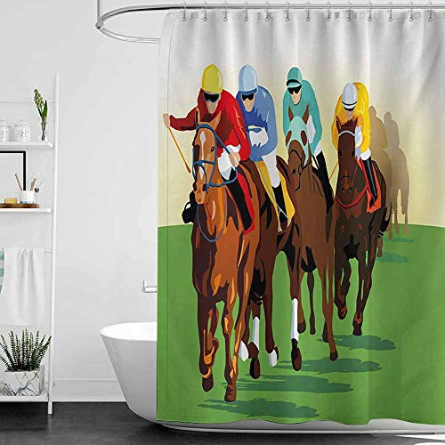 StarsART Shower Curtains for Bathroom mountians Horse,Vibrant Colorful Competitive Scene with Jockeys Racing Horses Equine Retro Artwork,Multicolor,W36 x L72,Shower Curtain for ()