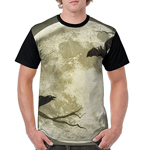 Men's Unique T Shirts Halloween Moon Illustration Art