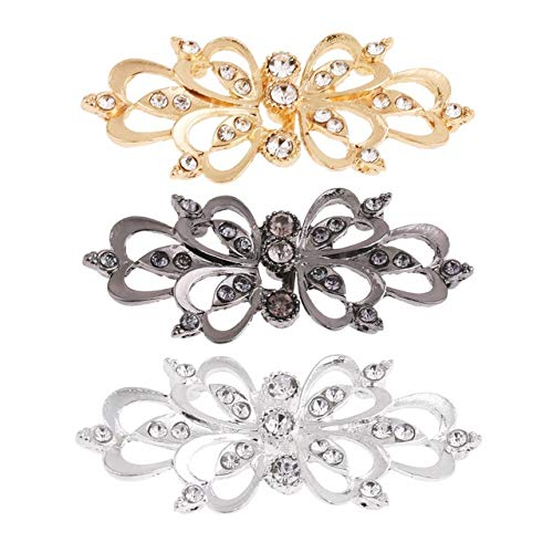 Maslin 3 Pairs Shiny Crystal Cape Cloak Clasp Feather Heart Cheongsam Buckle Brooch Cardigan Clip Chinese Frog Buttons Knot Hooks Eyes - (Color: Heart, Size: One Size)