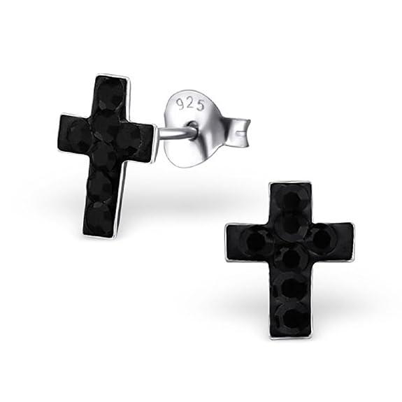 ICYROSE 925 Sterling Silver Jet Black Crystal Cross Stud Earrings 19627