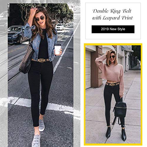 WERFORU PU-Leder Gürtel Damen Taillengürtel Mädchen Lackleder Gürtel Mit Exquisite O-Ring Schnalle Gürtel für Jeans Hosen Kleider