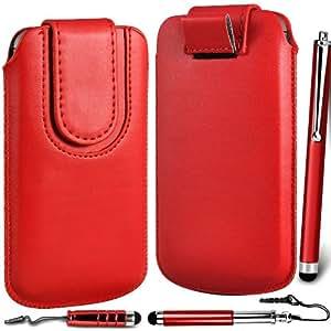 N4U Online Premium PU tirón del cuero del tirón del caso Tab cubierta de bolsa con correa de cierre magnético y 3 Pack Stylus Bundle para T-Mobile MyTouch 4G - Rojo