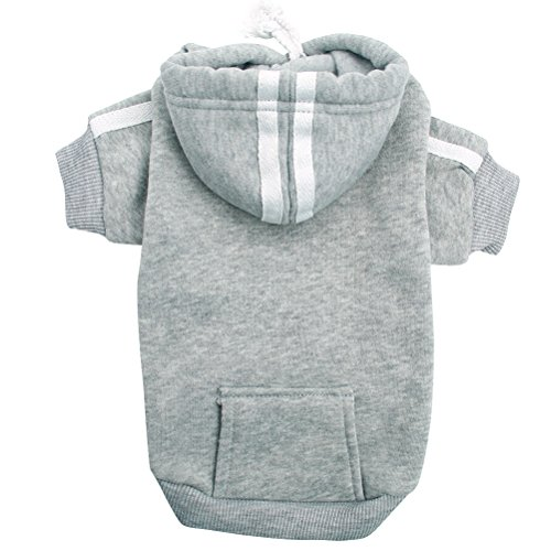 PUPTECK Classic Dog Hoodie Sweater with Pocket Cute Shirt Pet Sweatshirt Puppy Clothes Grey Small