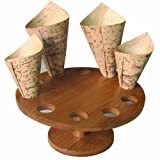 PackNWood 210SBAM10 10 Holes Bamboo Cone and Temaki Display - : 7'' H: 3.5'' - Hole : 0.9'' - 2 per case