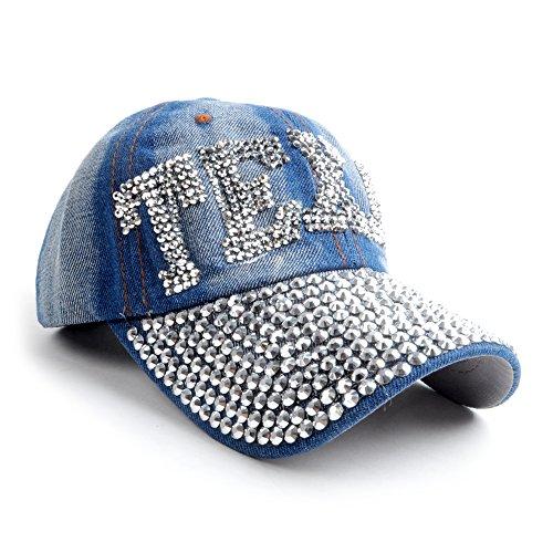 Texas Light Jean Denim Bling Baseball Cap (Texas Bling)