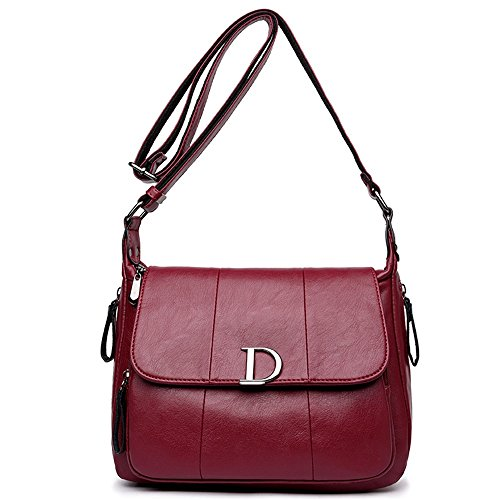 Bag PU Magnetic Square Simple Messenger Shoulder capacity Buckle Sunbobo Casual Large Burgundy Bag wPqnT